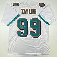 $124 » Autographed/Signed Jason Taylor Miami White Football Jersey Beckett BAS COA
