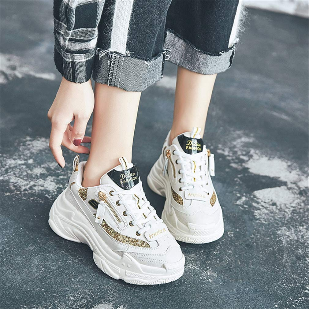 YAN Damen-Turnschuhe Neue 2019 Sportschuhe Casual Casual Casual Platform Laufen Schuhe Leder Low-Top Casual schuhe Beige A 39 36bf61