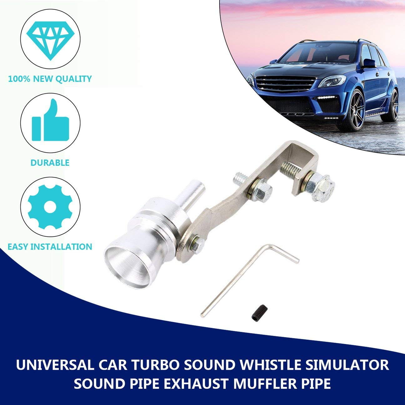 Universal Aluminium Cars Auto BOV Turbo Son Tube Sifflet Tube Son Simulateur Tube Tube D/échappement Silencieux Tube Noir