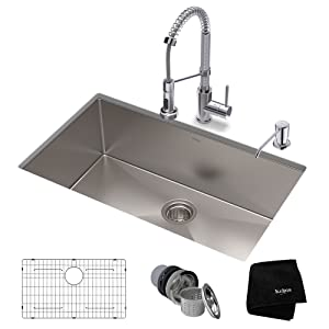 KRAUS KHU100-32-1610-53CH Set with Standart PRO Stainless Steel Sink and Bolden Commercial Pull Faucet in Chrome Kitchen Sink & Faucet Combo