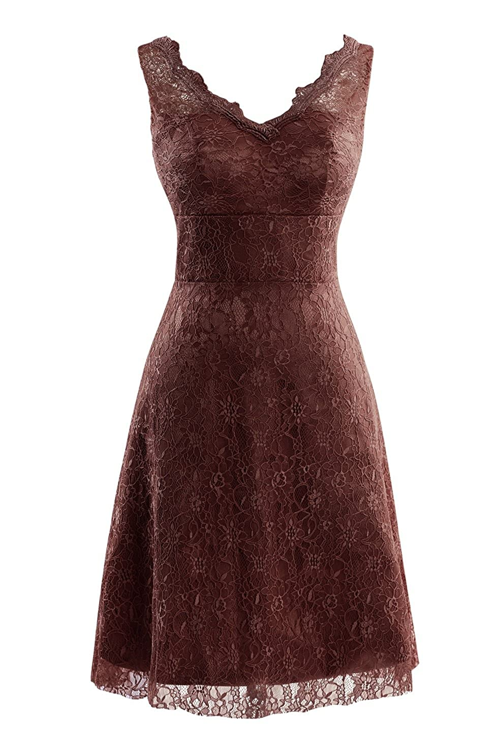 Chocolate Bess Bridal Women's V Neck Lace Knee Length Prom Party Dresses
