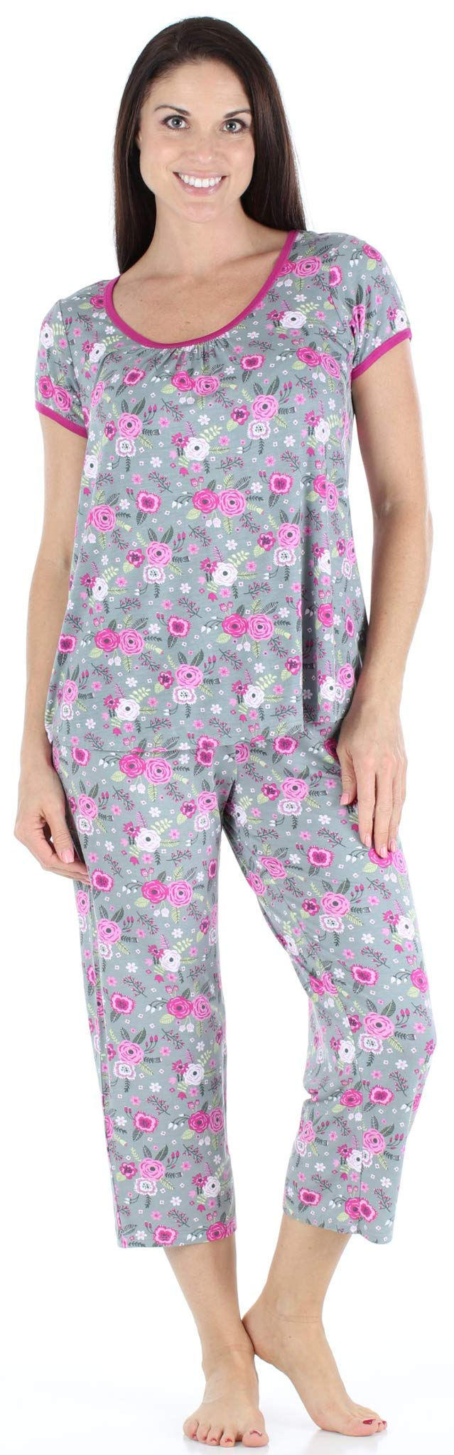 bSoft Women s Sleepwear Bamboo Jersey Short Sleeve Top and Capri Pajama Set  product image 48fe61454