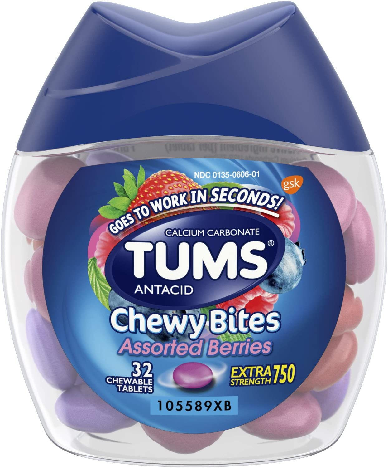TUMS Chewy Bites Assorted Berries Antacid Hard Shell Chews for Heartburn Relief, 32 count