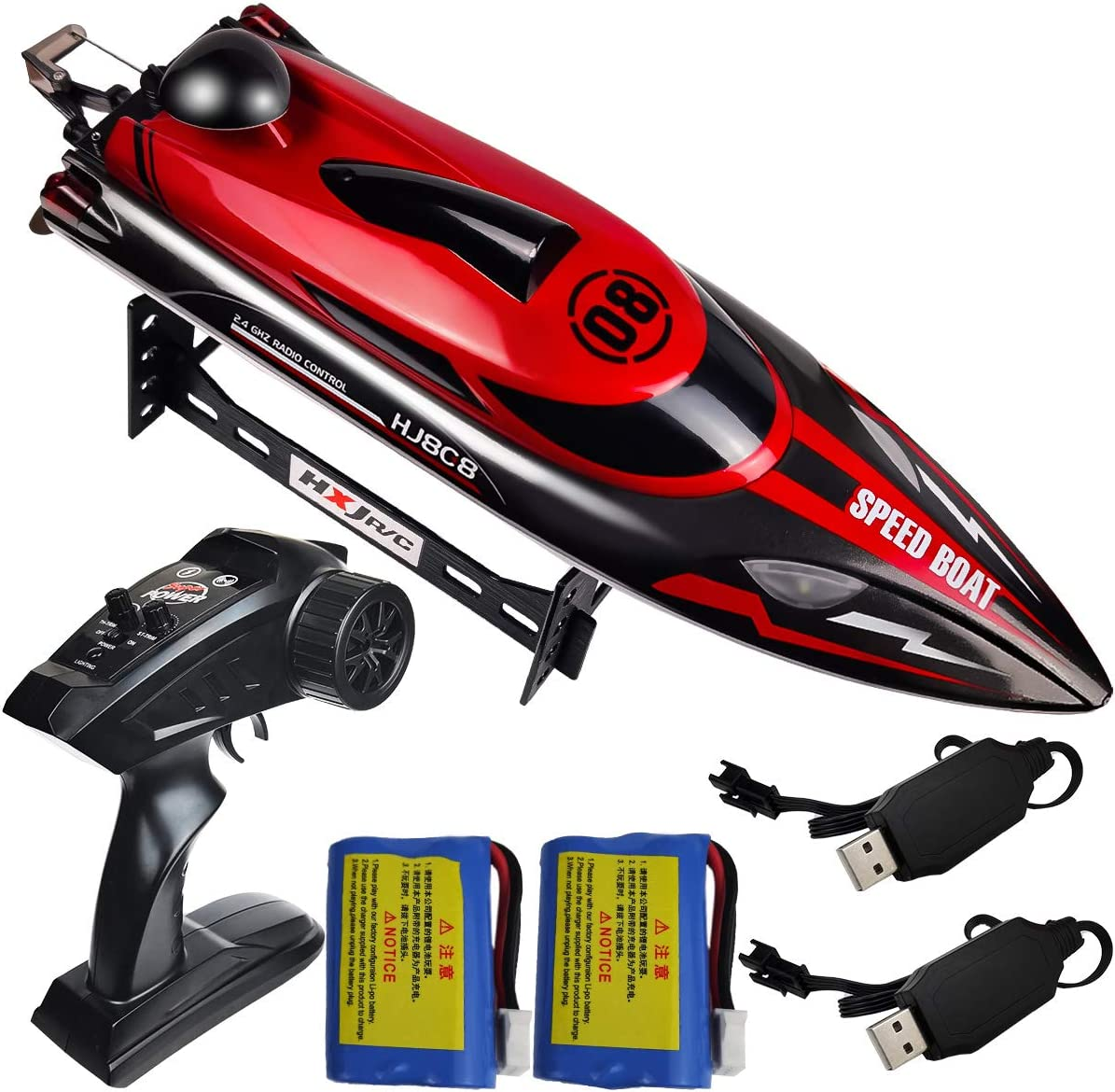 HONGXUNJIE 2.4Ghz RC Boat- 20+ MPH High Speed Remote Control Boat for Adults and Kids for Lakes and Pools with 2 Rechargeable Batteries, Low Battery Alarm, Capsize Recovery (RED)