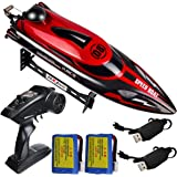 HONGXUNJIE 2.4Ghz RC Boat- 20 mph High Speed Remote Control Boat for Adults and Kids for Lakes and Pools with 2 Rechargeable