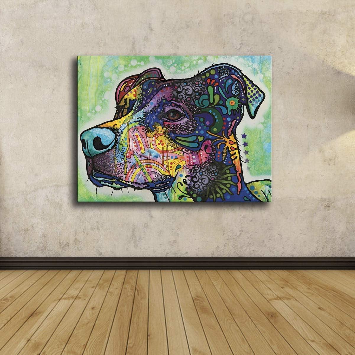 wojinbao Cartel de impresión de Arte Cabeza de Perro Colorida Habitación de bebé Pintura de Lienzo Moderna Niños Decoración Mural 45X60cmSin Marco