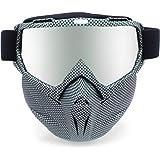 Picador - anteojos desmontables para motocicleta con máscara UV, Negro (Black Grid), Negro