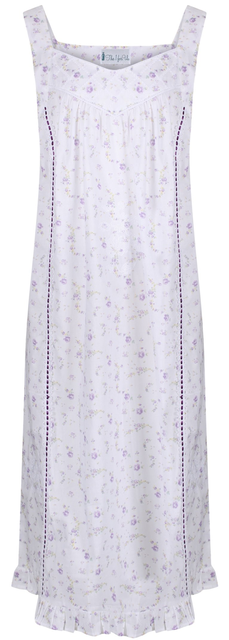 The 1 for U Nancy 100% Cotton Victorian Sleeveless Nightgown 7 Sizes (Large, Lilac Rose)