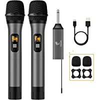 Micrófono inalámbrico, TONOR UHF Dual Wireless Metal Sistema de micrófono dinámico con receptor recargable, para karaoke…