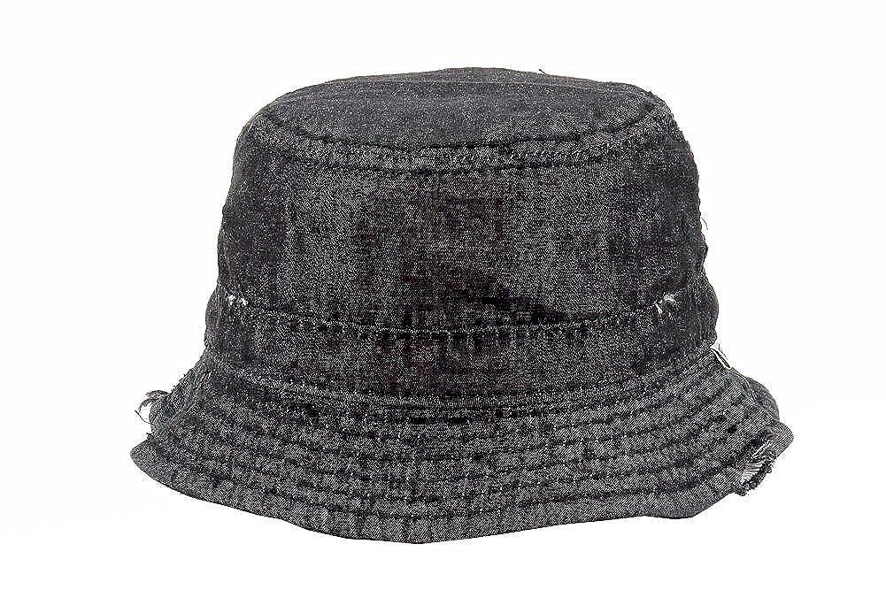 a1c1adedffc Amazon.com  True Religion Men s Black Denim Distressed Bucket Hat Sz  S M   Clothing