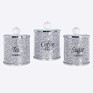 Canisters Set for Sugar Coffee Tea - SHYFOY Crushed Diamond Decorations Food Storage Containers Sets with Lids, Glass Modern Decor Jar for Kitchen Counter Countertop Home Bar (Set of 3) Silver
