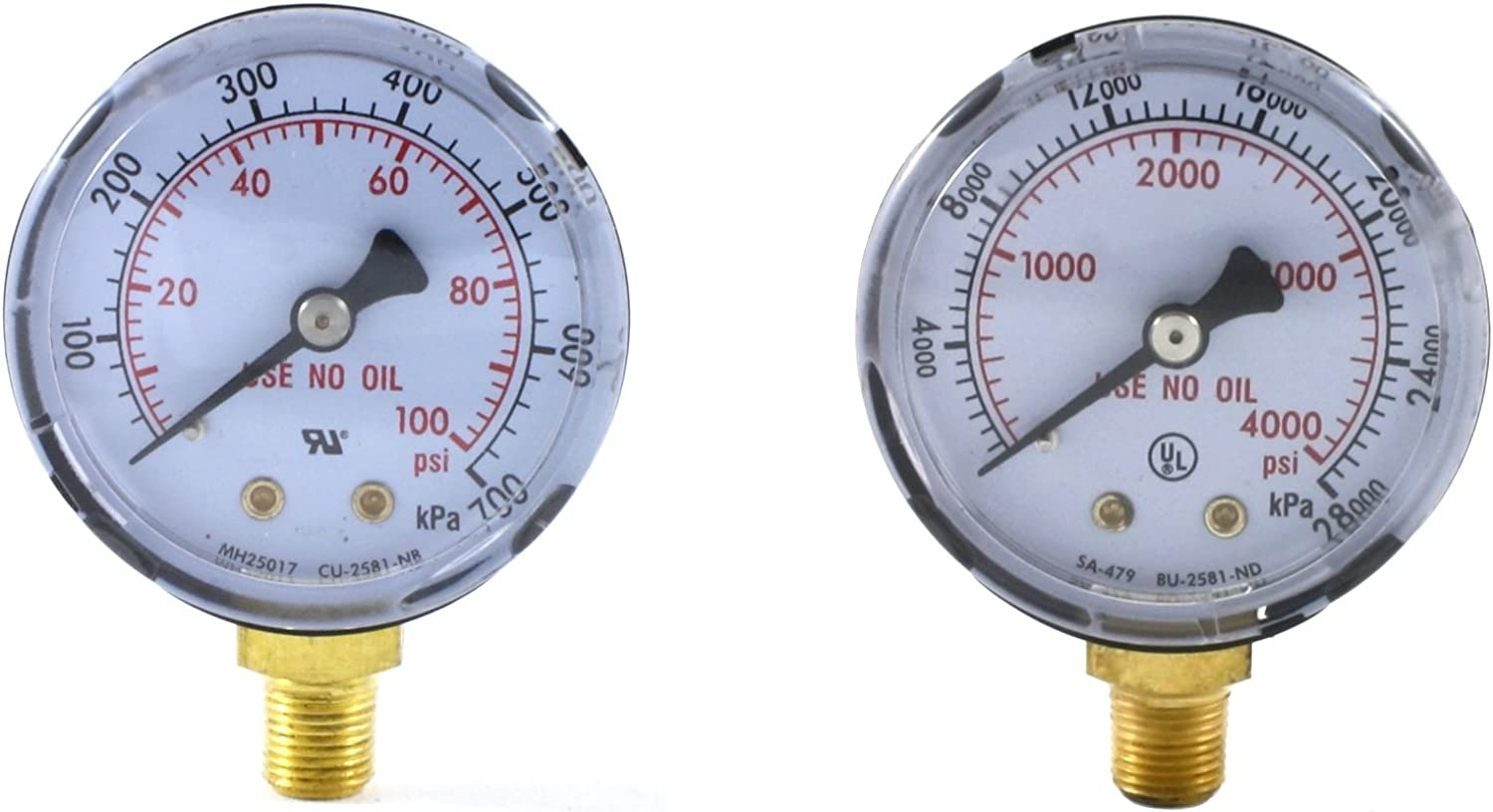 "1//8/"" NPT Thread High Pressure Gauge for Acetylene Regulator 0-400 psi 2 inches"