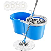 Masthome 5L Spin Mop Bucket System with 3 Microfiber Mop Heads Stainless Steel Rolling Mop Set for Bathroom,Kitchen…