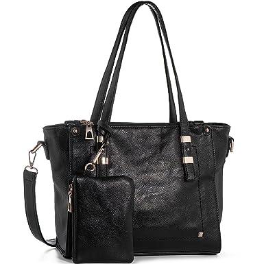 b8b15dba4e Amazon.com  WISHESGEM Women Fashion Handbags Top-Handle Shoulder Bags PU  Leather Tote Bags Crossbody Purse Black  Clothing
