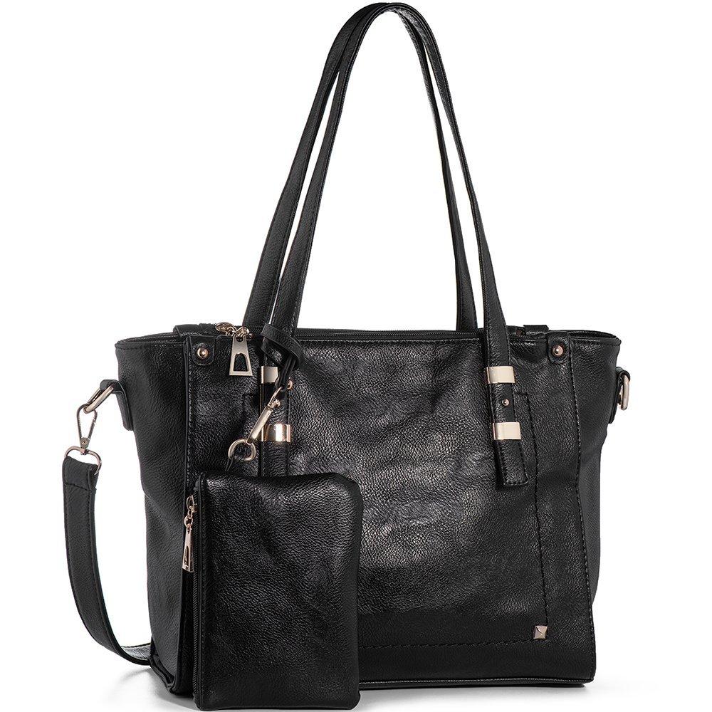 WISHESGEM Women Fashion Handbags Top-Handle Shoulder Bags PU Leather Tote Bags Crossbody Purse Black