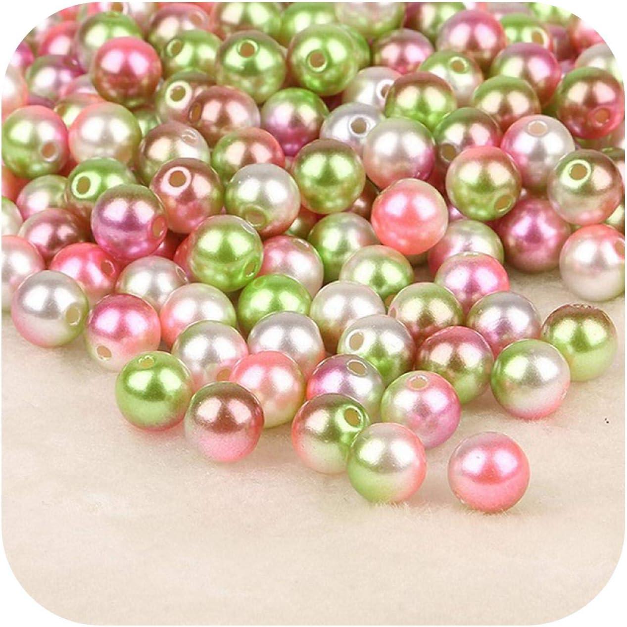 Accessorie 50 – 500 cuentas redondas sueltas de perlas de imitación de 4 6 8 10 12 mm, hechas a mano para hacer collares y pulseras 10mm 50pcs Color 1