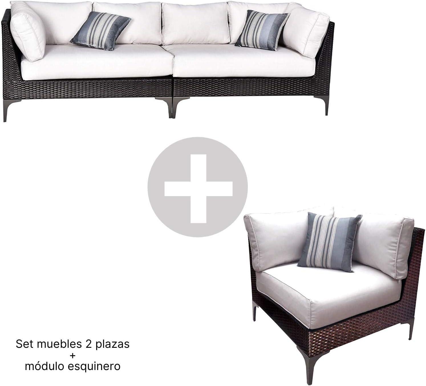 Conjunto Muebles de Jardín Ratán | Módulo Esquinero + Sofá 2 plazas Izquierdo + Sofá 2 plazas Derecho | Muebles para terraza/Exterior | Set de Ratán Sintético | Modelo Santo Color Marrón Chocolate: Amazon.es: Jardín