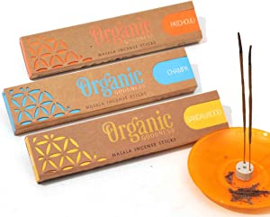 Organic Goodness Incense Sticks - 3 Pack: Sandalwood, Champa and Patchouli. Total 45 Grams (Over 96% Organic Materials Used) with Ceramic Burner (Saucer not Included)