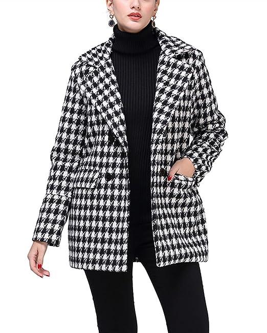 YOSICIL Femme Manteau Laine Parkas à Carreau Trench-Coat Mi-Long Veste  Épaise Manches 46913fb244c7