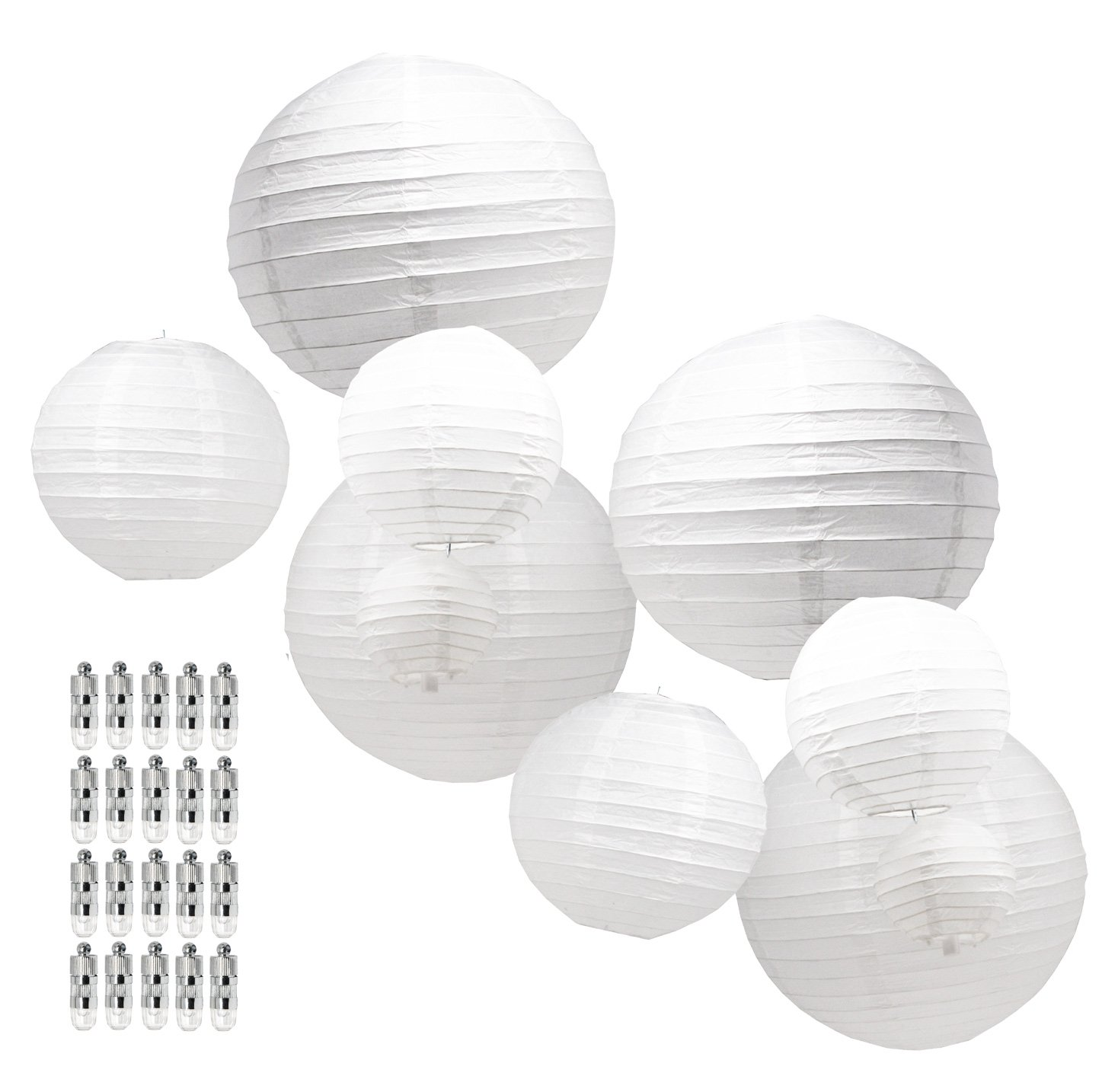 Mudra Crafts White Black Decorative Hanging Round Pastel Paper Lanterns with Led Light Bulb and Battery Set (White 12 10 8 6 4 inches)