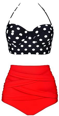 db6effca4845 Aixy Frauen Vintage Polka Dot Hohe Taille Bademode Halter Bikini Set  Badeanzüge Zwei Stück  Amazon.de  Bekleidung