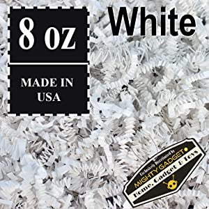 Mighty Gadget (R) 1/2 LB White Crinkle Cut Paper Shred Filler for Gift Wrapping & Basket Filling