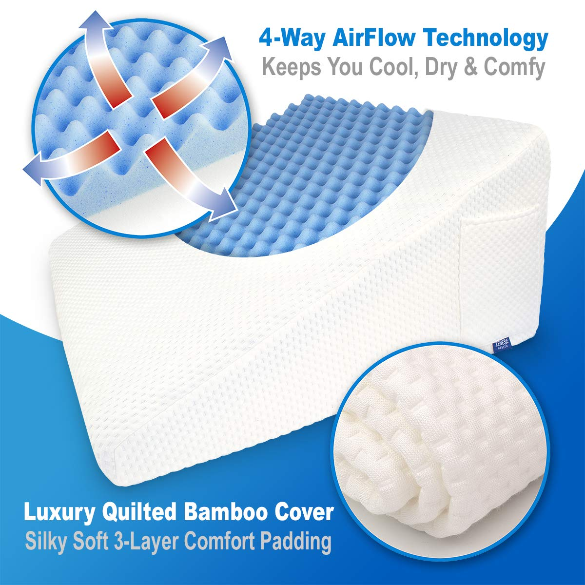 LUXELIFT Support Therapy Bed Wedge Pillow | Multipurpose adjustable 12 inch or 8 inch height | Stay-Cool Gel-Infused Memory Foam, Back & Leg Pillow | Back Pain, Injury, Reflux, GERD, Sinus & Snoring by Zenesse Health (Image #5)