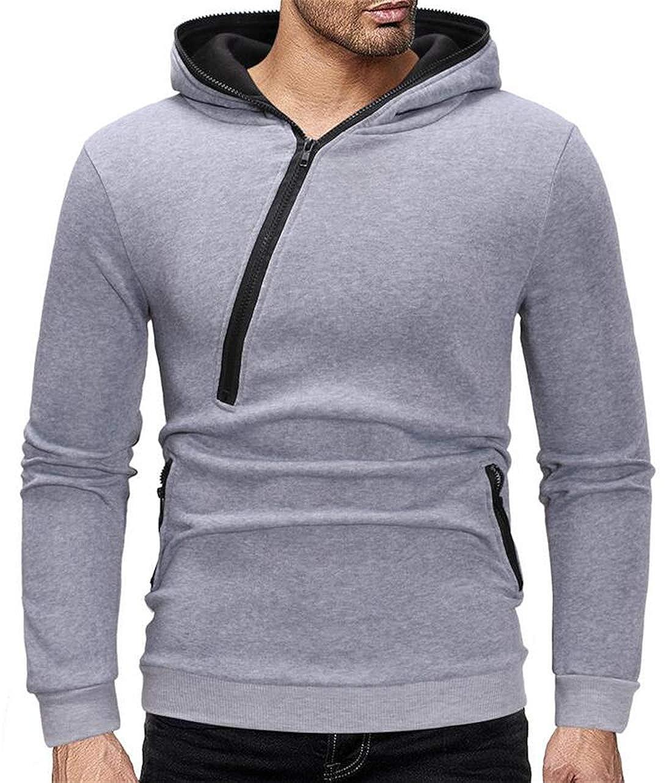 Hmarkt Mens Long Sleeve Fashion Oblique Zipper Solid Color Pockets Sweatshirt Hoodie Pullover