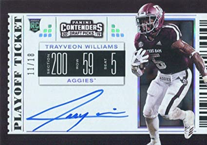 2019 Panini Contenders Draft Tickets Game Day Tickets Football #15 Trayveon Williams Texas A/&M Aggies