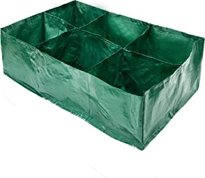 Apipi 35 Gallon Large PE Fabric Raised Planting Bed Garden Grow Bags with 6 Compartments- Potato Tomato Planter Pots with Drainage Holes for Outdoor Vegetables Plant Flowers