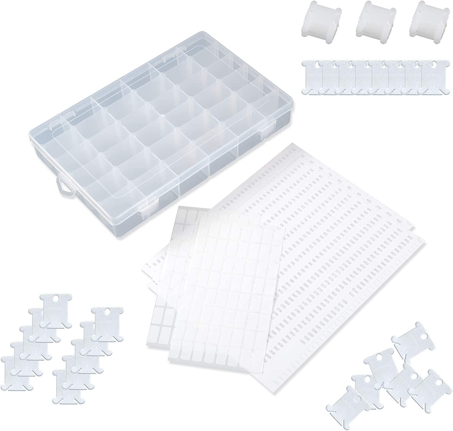 Embroidery Floss Organizer Box with 36 Adjustable compartments Includes 100 Plastic Floss bobbins and 100 Sticker