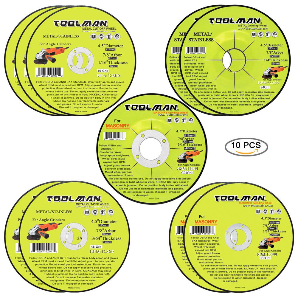 Toolman Premium Cut Off Cutting Wheel Universal fit 10pc Set for metal and stainless steel works with DeWalt Makita Ryobi by Toolman 47 (Image #1)