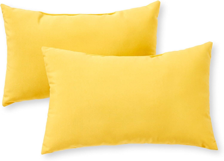 Greendale Home Fashions AZ5811S2-SUNBEAM Sunburst Outdoor Rectangle Throw Pillow (Set of 2)