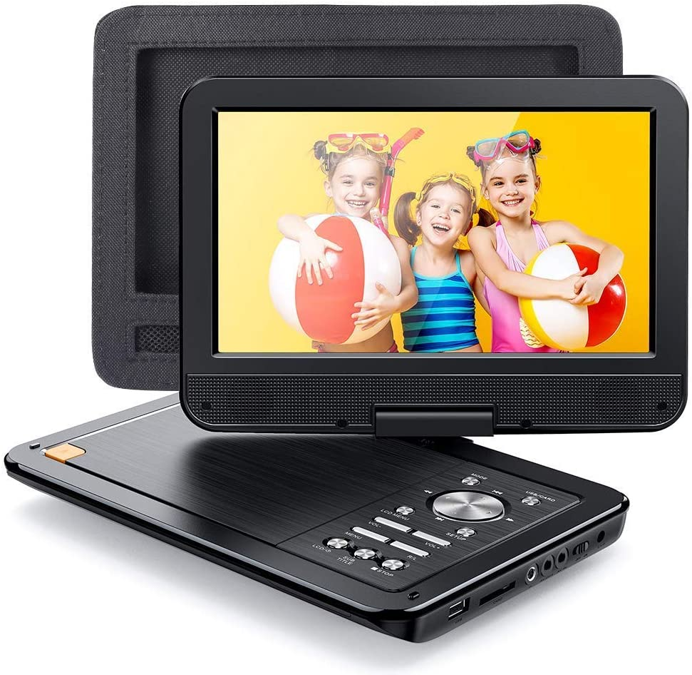 "APEMAN 12.5"" Portable DVD Player for Car/Kids with Car Headrest Mount Case, Built-in 7h Rechargeable Battery with 10.5"" Swivel Screen Support USB/SD Card/Sync TV and Multiple Disc Formats"