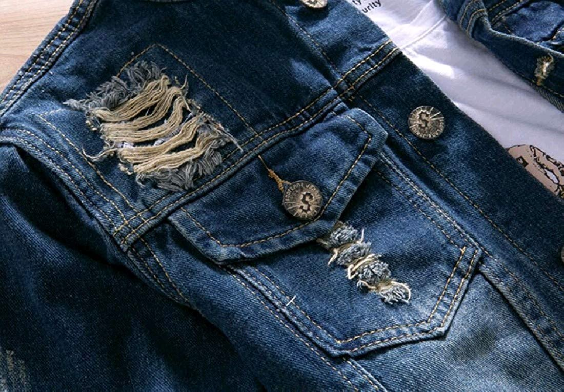 Comaba Mens Vintage Ripped-Holes Wash Denim Skinny Outwear//Overcoat