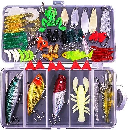 Amazon.com : 77Pcs Fishing Lures Kit Set for Bass, Trout, Salmon