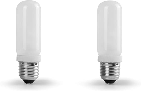 2 Pack Dimmable JDD Tubular Glass 150W Screw Light Bulb Photography Studio Modeling Strobe Lamp Compact Flash Lighting T10 Medium Base Replacement Q50FR Clear Lense 150 Watt E26 Monolight Head /…