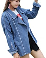 Oversize Denim Long Jacket Women Vintage Washed Long Sleeve Bomber Jacket Ripped Jaqueta Feminina Loose Chaqueta