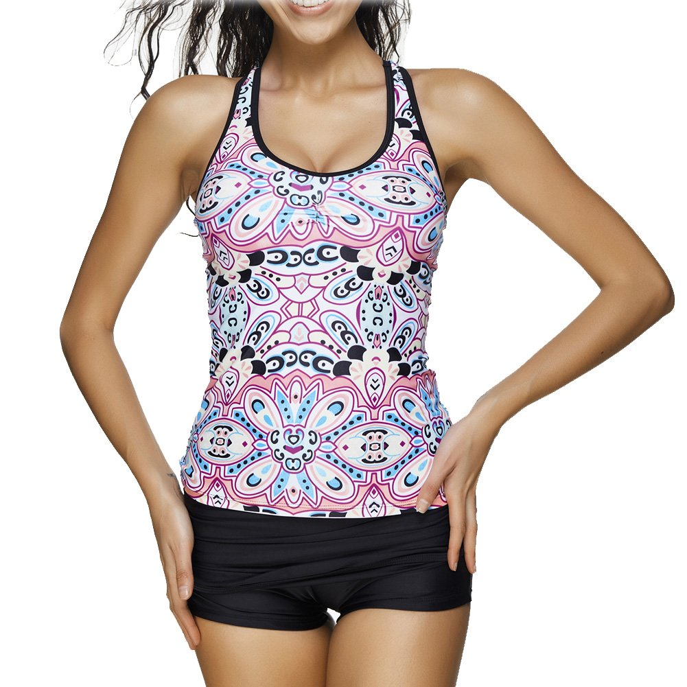 Women's Floral Printed Racerback Tankini Set with Boyshort Two Piece Swimsuit WS28-$P