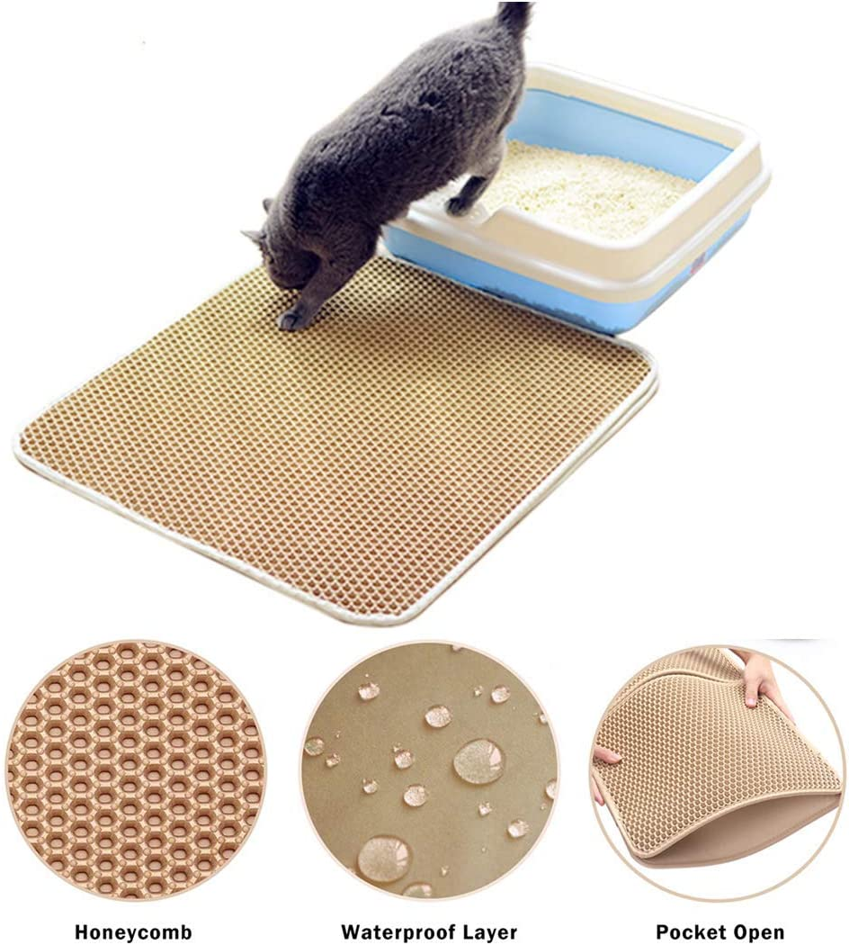 Beige Authda Cat Litter Mat Litter Tray Mats 30 x 30cm Double-Layer Litter Trapper Mat Large Waterproof Honeycomb Non-Toxic Protect Floor Washable