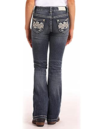 96a980ba47c Amazon.com  Rock   Roll Cowgirl Girls  and Embellished Dark Vintage Wash  Jeans Boot Cut Blue 10  Clothing