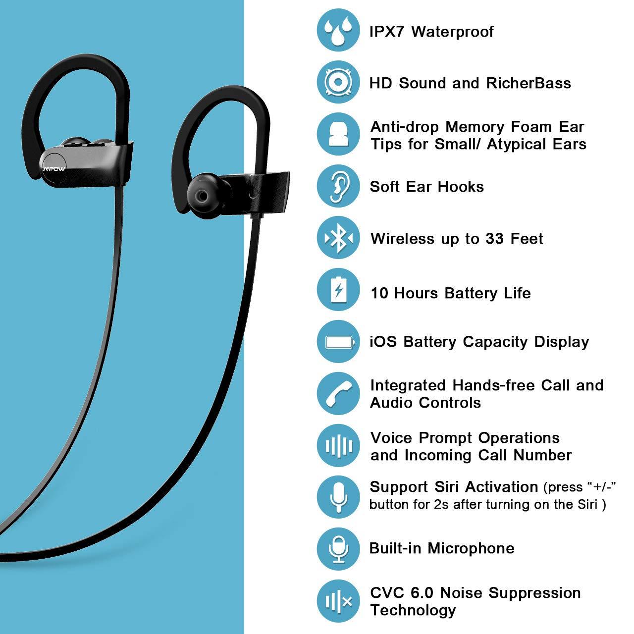 Mpow D7 Bluetooth Headphones Sport, 10H Playtime & IPX7 Waterproof Wireless Headphones Sport Earbuds W/Bass Stereo Sound, Running Headphones Bluetooth Earphones W/CVC 6.0 Noise Cancelling Mic, Black by Mpow (Image #2)
