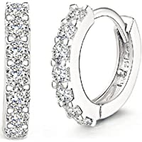 ANDI ROSE Jewellers 925 Sterling Silver Rhinestones Hoop Stud Earrings for Women (1061 Silver)