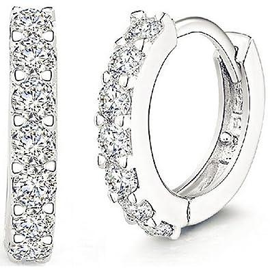 72039dee6 Amazon.com: ANDI ROSE Fashion Jewelry 925 Sterling Silver Rhinestones Hoop  Diamond Stud Earrings for Women (1061 Silver): Jewelry