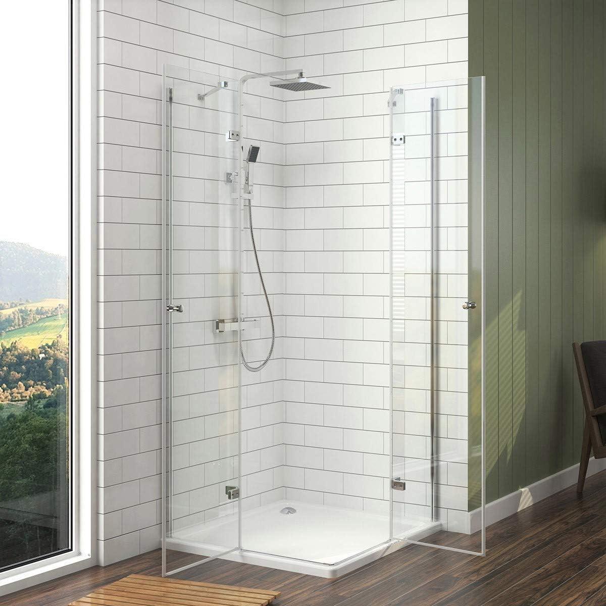 Meykoers Duschkabine Eckeinstieg 75x90x185cm Duschabtrennung mit Schwingt/ür Duscht/ür Duschwand Glas Duschtrennwand Eckdusche aus 6mm ESG Sicherheitsglas mit Nano-Beschichtung
