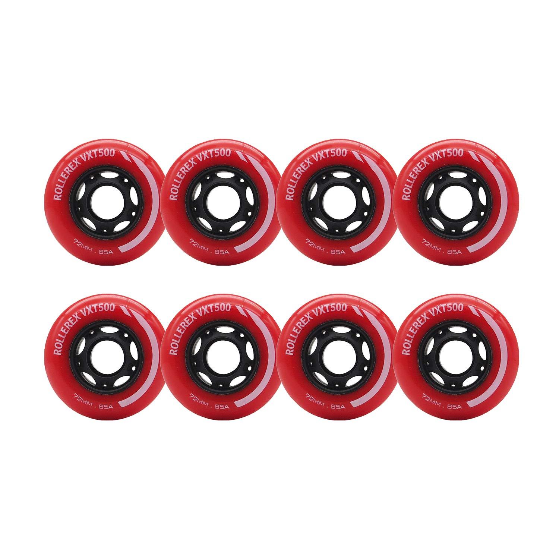 Rollerex VXT500 Inline Skate/Rollerblade Wheels (8-Pack) (Rocket Red, 72mm)