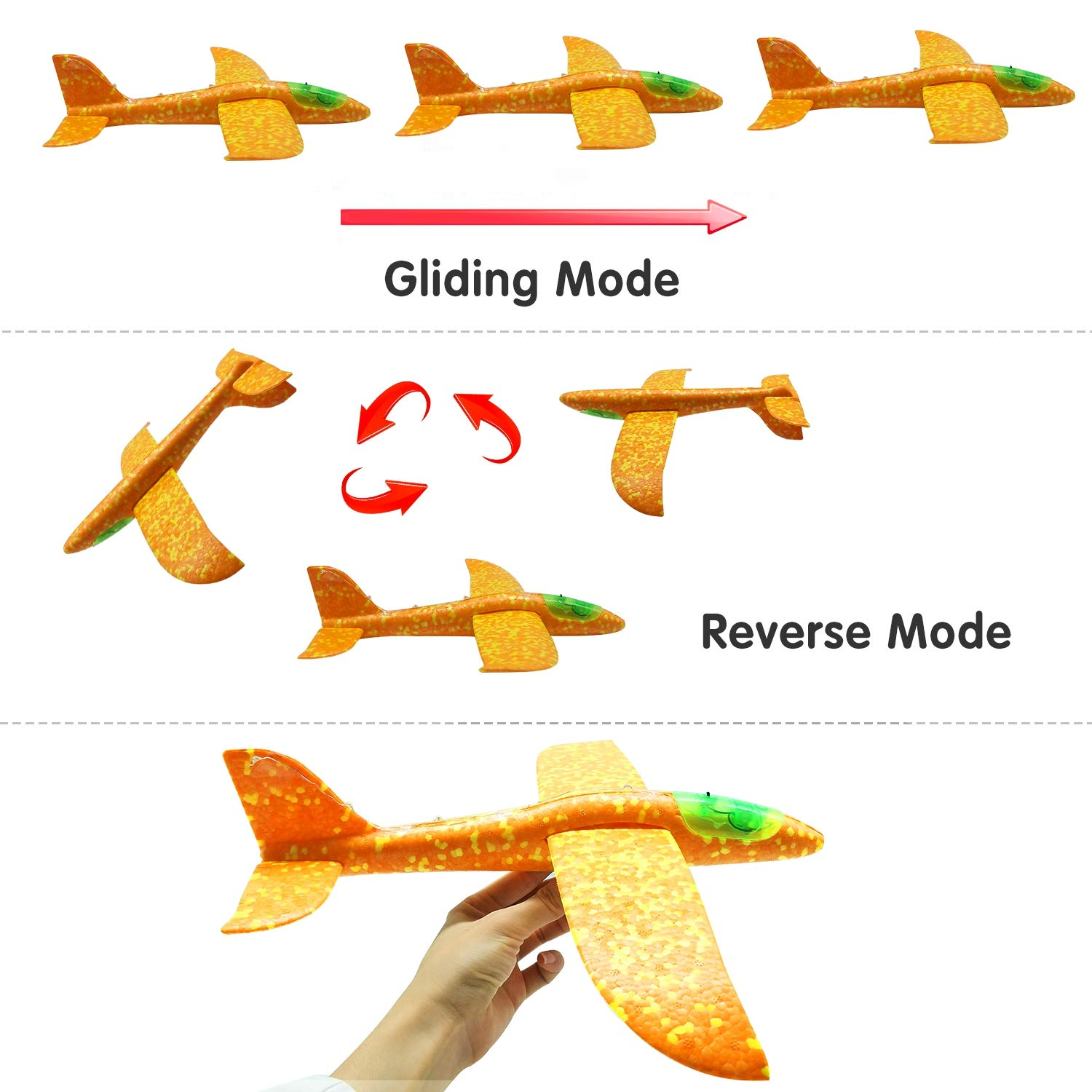 Airplane Toy for Kids, 3 Pack 13.5'' LED Light Up Throwing Foam Airplane Flying Aircraft Plane DIY Glider Aeroplane Model Jet Kit Flying Toys for Boys Girls Teens, Outdoor Sport Game Toys Party Favors by GreaSmart (Image #4)
