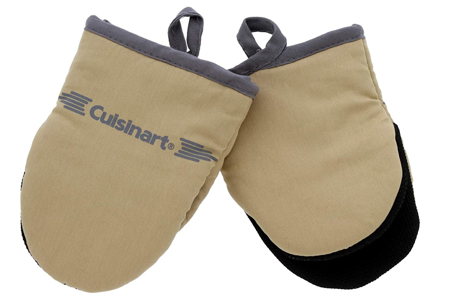 Cuisinart Neoprene Mini Oven Mitts, 2pk - Non-Slip Heat Resistant Gloves Protect Hands and Surfaces from Hot Cookware, Kitchenware Items - Ideal Mini Kitchen Set with Hanging Loop - Tan with Grey