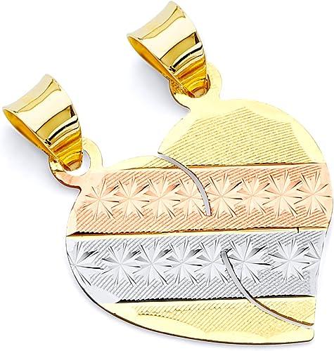 TWJC 14k Two Tone Gold Heart Charm Pendant