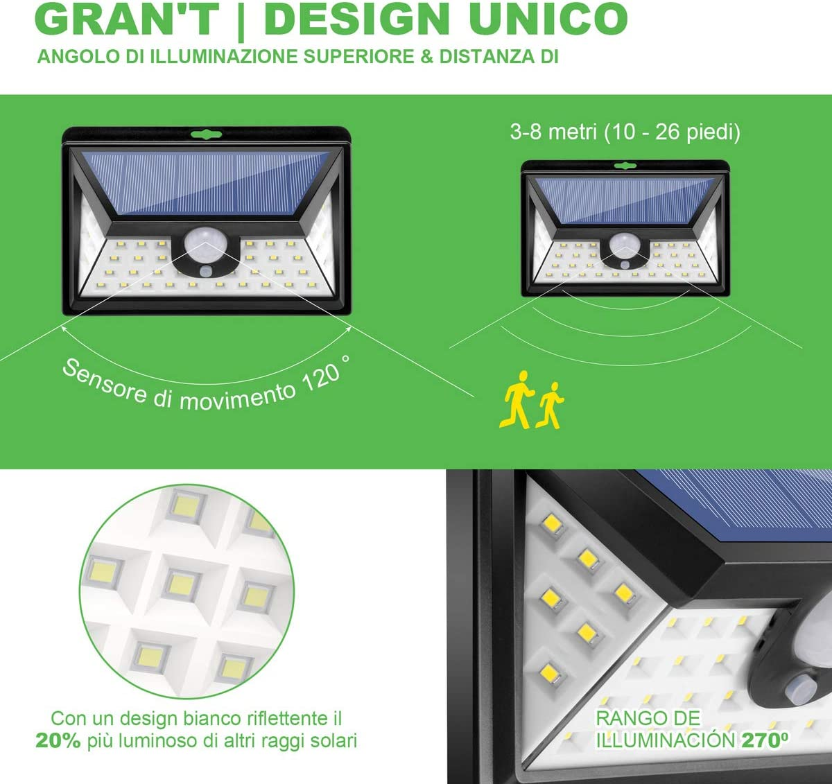 Luz solar exterior con 【42 LED x 2】, iluminación 270°, para ...